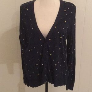 Old Navy Navy Cardigan with Gold Stars embroidery
